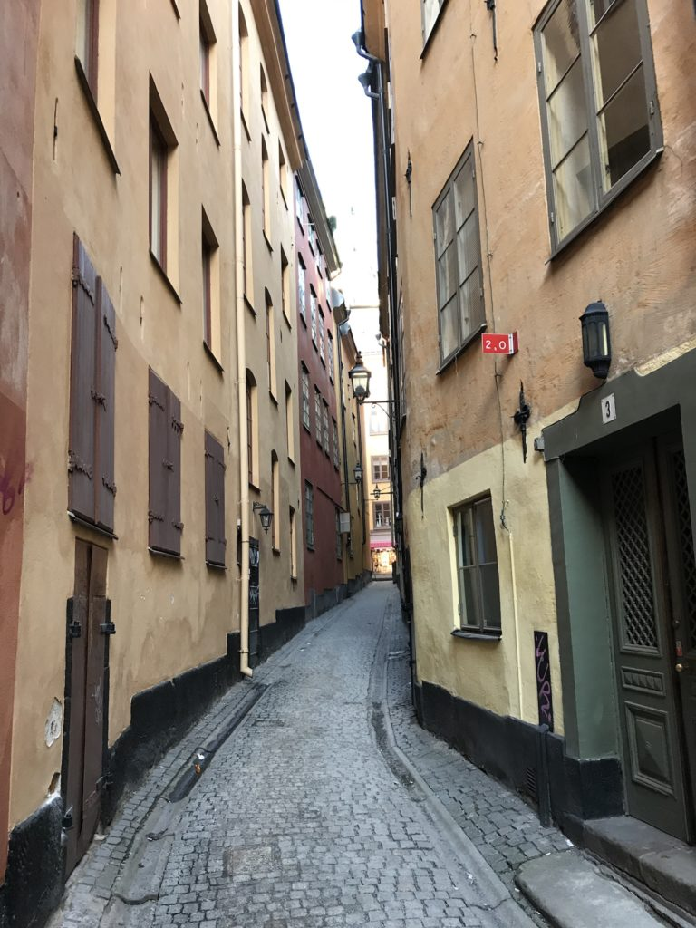 A narrow street in Gamla Stan, a great place to wander around.