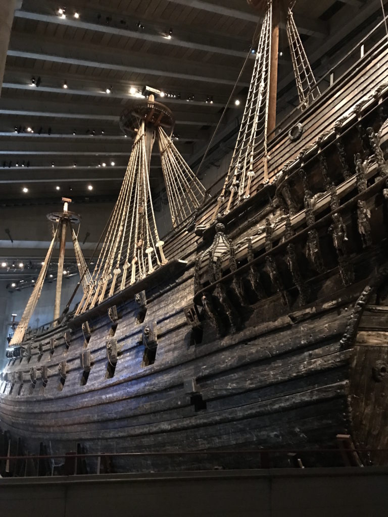 The Vasa, a ship which sunk on its maiden voyage in the 17th century, and has been almost fully preserved and reconstructed.