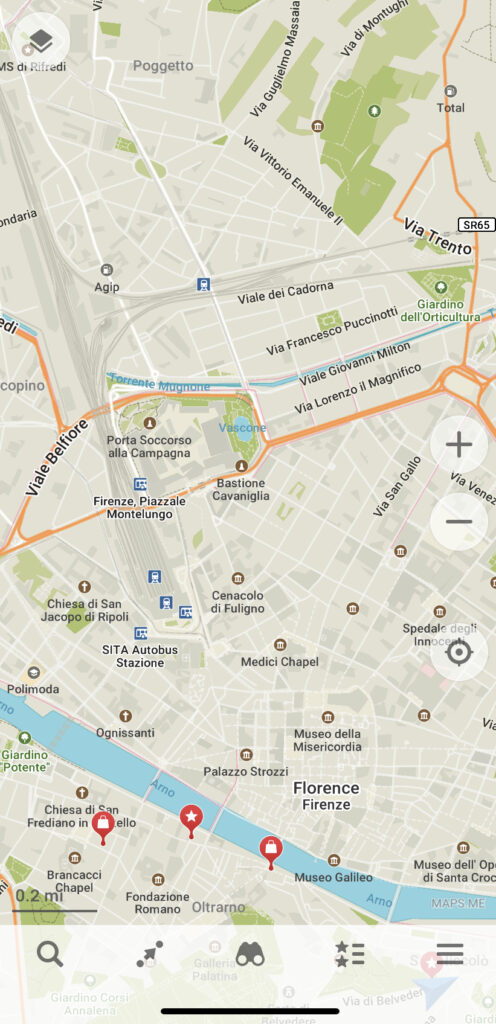 Maps.me is a highly detailed maps app to use when backpacking or when you don't have data.