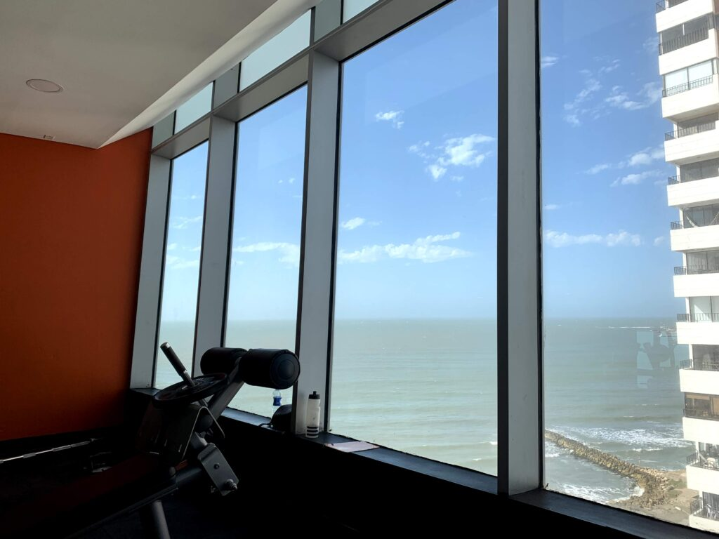 I was rewarded with an ocean view from Bodytech Gym in Cartagena, Colombia.