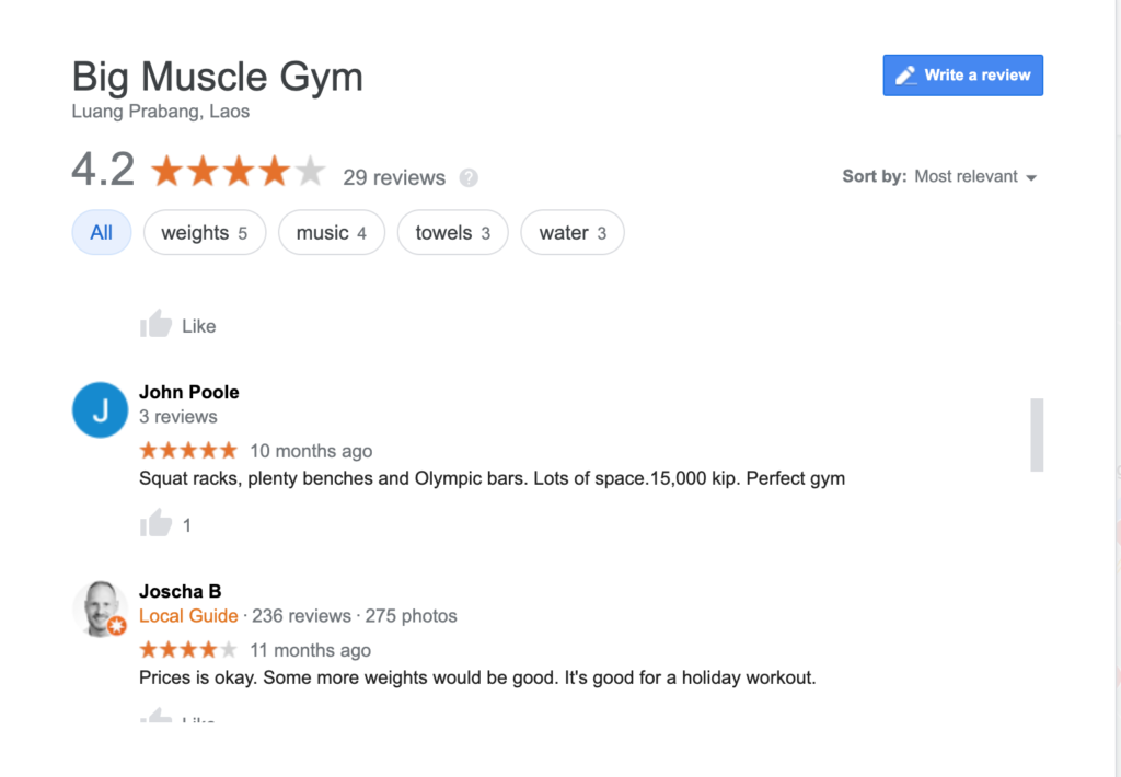 Sure enough, the important info for a gym is usually in the reviews. The price is provided by a generous reviewer.