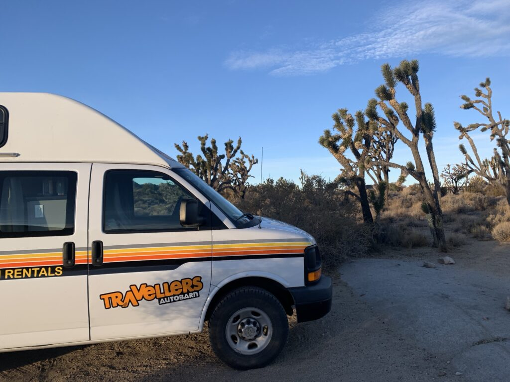 Camping among Joshua Trees in the Mojave National preserve in California.