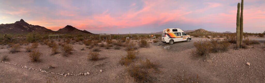 The sunset at a dispersed campsite at Organ Pipe Cactus National Monument in Arizona.